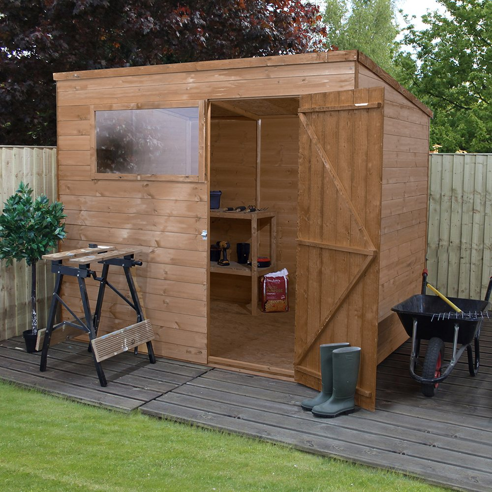 6 x 8 188m x 241m mercia shiplap pent shed with single door