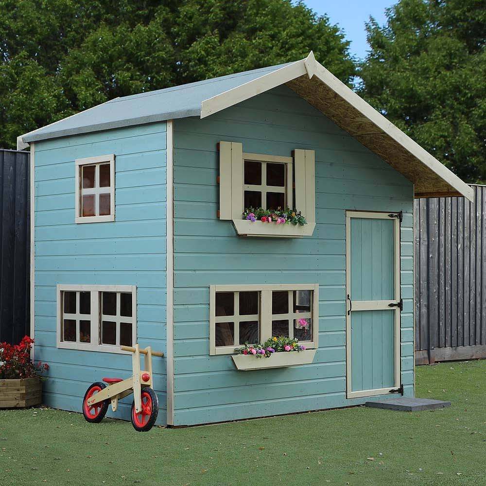 Mercia double storey cottage playhouse 8ft x 6ft elbec for How to build a 2 story playhouse