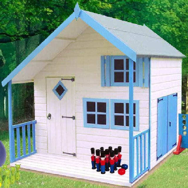 Shire crib two storey playhouse with integral garage for Wooden playhouse with garage