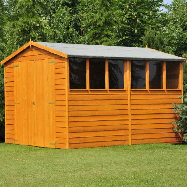 10 x 6 299m x 179m shire overlap apex shed with double doors - Garden Sheds 10 X 6
