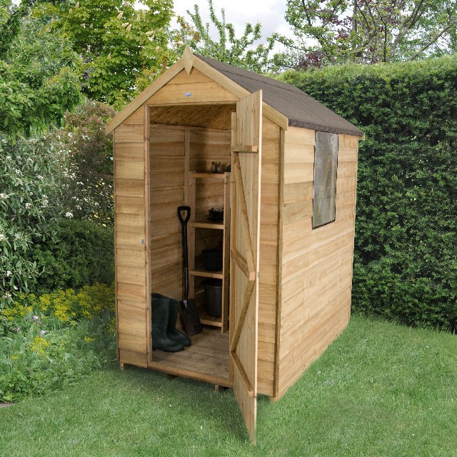 Forest overlap pressure treated apex shed 6x4 elbec for Garden shed 6x4 sale