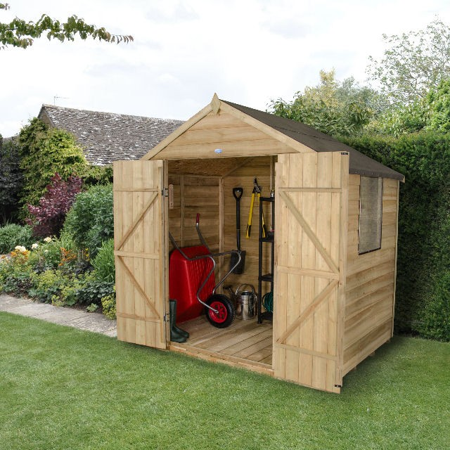Forest overlap pt apex garden shed double doors 5x7 for Garden shed 5x7