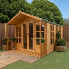 8 x 12 (2.42m x 3.73m) Mercia Premium Traditional T&G Summerhouse with Veranda