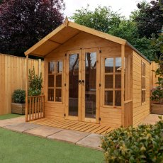 8 x 8 (2.42m x 2.51m) Mercia Premium Traditional T&G Summerhouse with Veranda