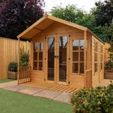 8 x 10 (2.42m x 3.14m) Mercia Premium Traditional T&G Summerhouse with Veranda
