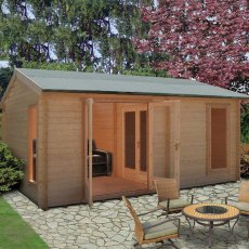 13G x 17 (3.88m x 5.27m) Shire Firestone Log Cabin (34mm to 70mm Logs)