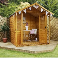 7 x 7 (2.30m x 2.20m) Mercia Shiplap Traditional Summerhouse with Veranda