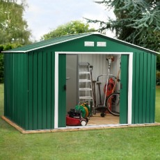 10 x 8 (3.12m x 2.32m) Emerald Springdale Metal Shed (Green)