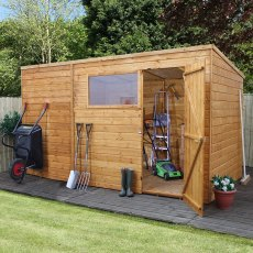 8 x 10 (2.40m x 3.0m) Mercia Shiplap Pent Shed with Single Door