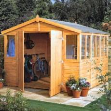9 x 9 (2.77m x 2.70m) Rowlinson Workshop Apex Garden Shed