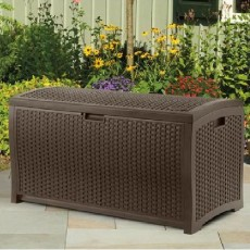 Suncast Rattan Style Wicker Deck Box - 375 Litre Capacity