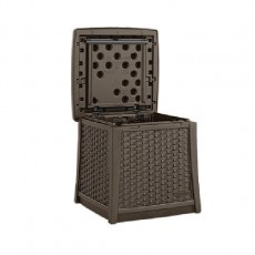 Suncast Rattan Style Deck Box and Side Table - 49  Litre Capacity