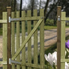 4ft High (1220mm) Mercia Flat Top Palisade Gate - Pressure Treated