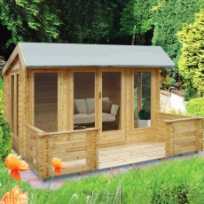 12G x 14 (3.59m x 4.19m) Shire Wykenham Log Cabin (34mm to 70mm Logs)