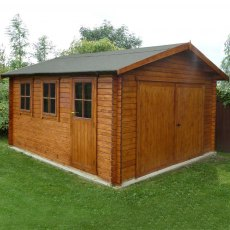 14G x 17 (4.19m x 5.09m) Shire Bradenham Log Cabin (34mm Logs)