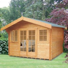 14G x 12 (4.19m x 3.59m) Shire Clipstone Log Cabin (28mm to 70mm Logs)