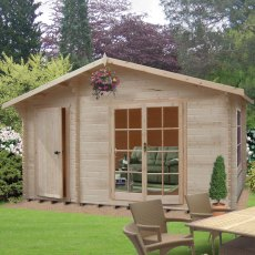 16G x 14 (4.79m x 4.19m) Shire Bourne Log Cabin (28mm to 70mm Logs)