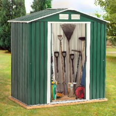 6 x 6 (1.95m x 1.73m) Emerald Parkdale Metal Shed (Green)