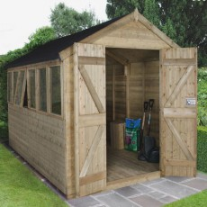 12 x 8 (3.66m x 2.48m) Forest Tongue And Groove Pressure Treated Apex Workshop Shed