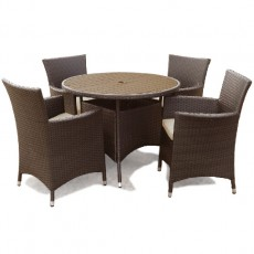 Megara Round Table 100cm + 4 Armchairs With Cushions - Brown