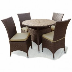 Megara Round Table 100cm + 4 Dining Chairs With Cushions - Brown