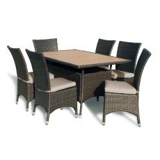 Megara Rectangle Table 150cm + 6 Dining Chairs With Cushions - Brown