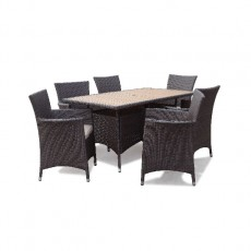 Megara Rectangle Table 150cm + 6 Armchairs With Cushions - Brown