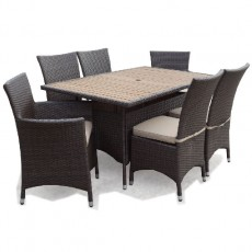 Megara Rectangle Table 150cm + 4 Dining Chairs + 2 Armchairs With Cushions - Brown