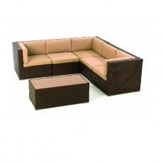 Megara Corner Sofa Set (3x corner , 2x mid , 1x coffee table) with cushions - Brown