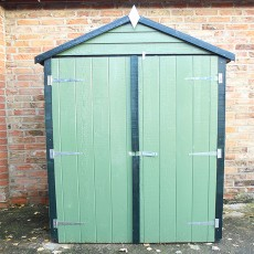 4 x 3 (1.20m x 0.91m) Shire Overlap Shed with Double Doors and Shelves - Windowless