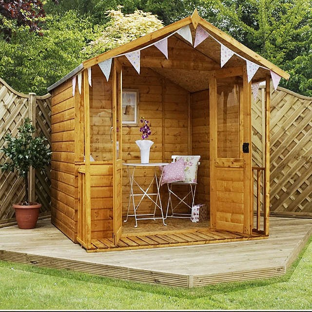 Mercia shiplap traditional summerhouse with veranda 7 x 7 for Garden shed 7x7