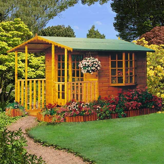 Goodwood 8 x 6 (2.39m x 1.79m) Goodwood Gold Fleur De Leys Summerhouse