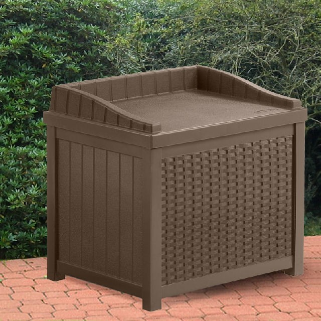 Suncast 2 x 2 (0.59m x 0.50m) Suncast Plastic Small Deck Box with Seating (Java)
