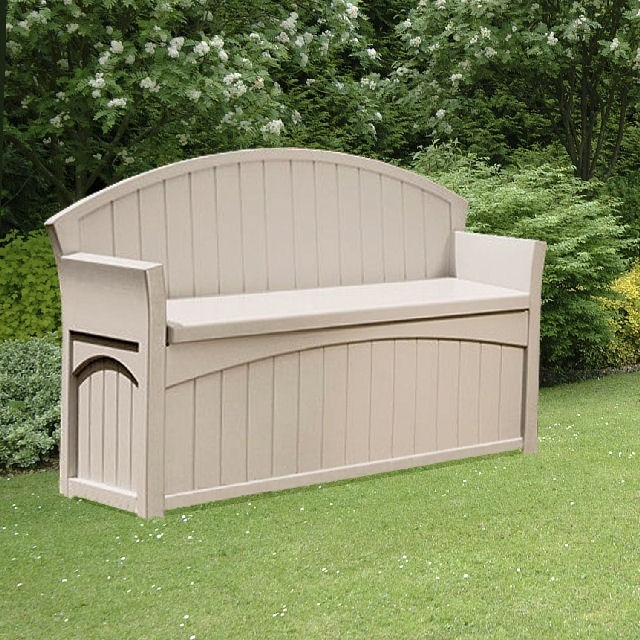 Suncast 5 x 2 (1.36m x 0.54m) Suncast Plastic Large Patio Deck Box with Seating