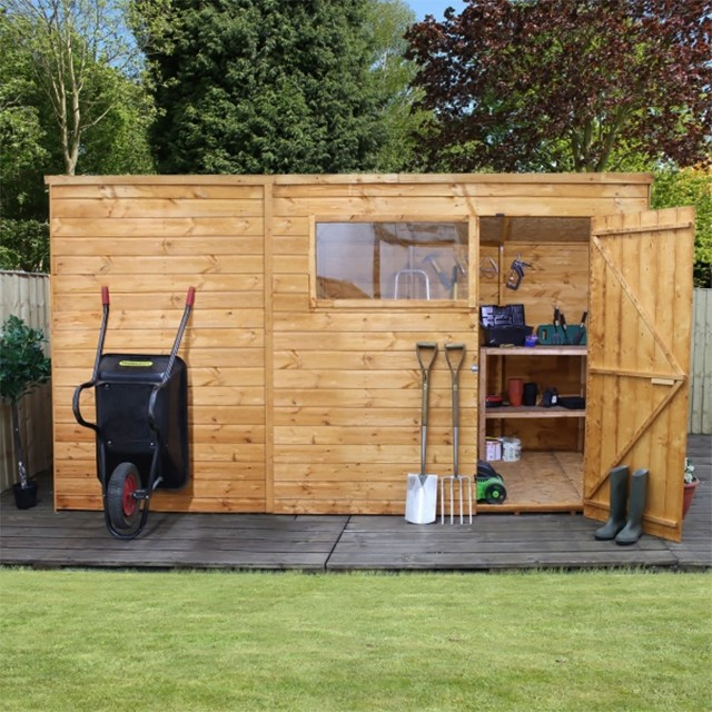 8 x 12 (2.40m x 3.64m) Mercia Shiplap Pent Shed with Single Door
