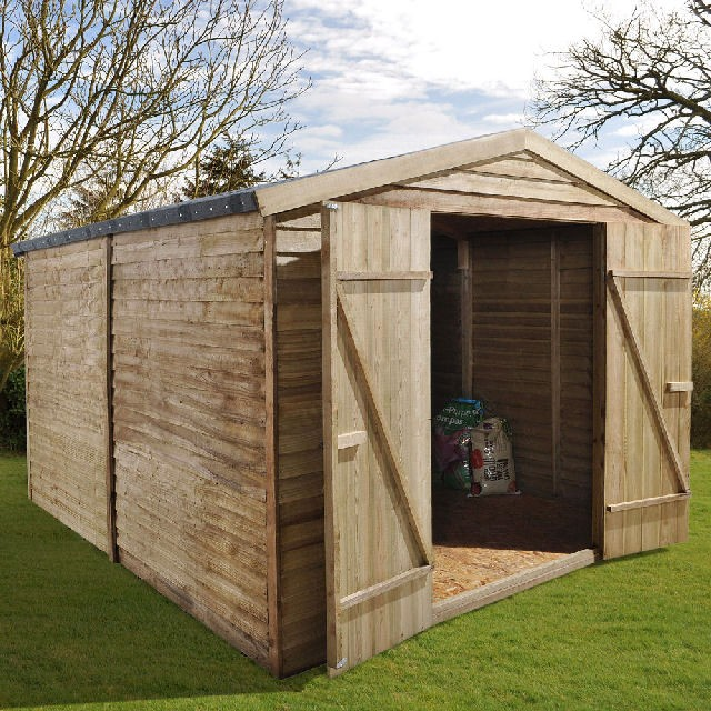 10 x 8 (3.05m x 2.44m) Forest Overlap Pressure Treated Apex Shed