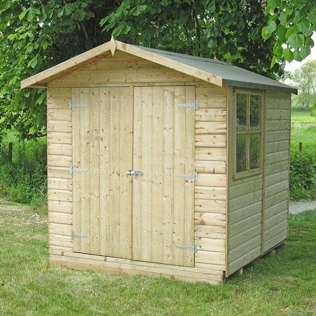 7 x 7 (1.98m x 2.05m) Shire Alderney Pressure Treated Apex Garden Shed