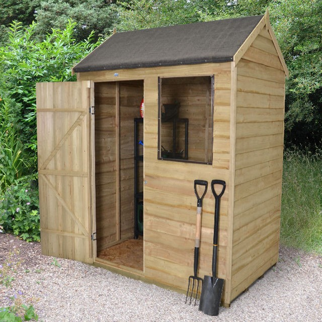 6 x 4 (1.75m x 1.16m) Forest Overlap Pressure Treated Reverse Apex Shed