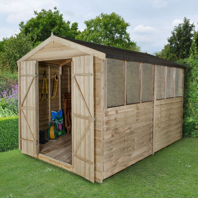 12 x 8 (3.64m x 2.40m) Forest Overlap Pressure Treated Apex Shed