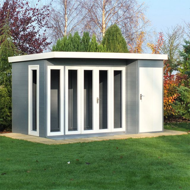 Shire 12 x 8 (3.59m x 2.39) Shire Aster Summerhouse with Side Storage