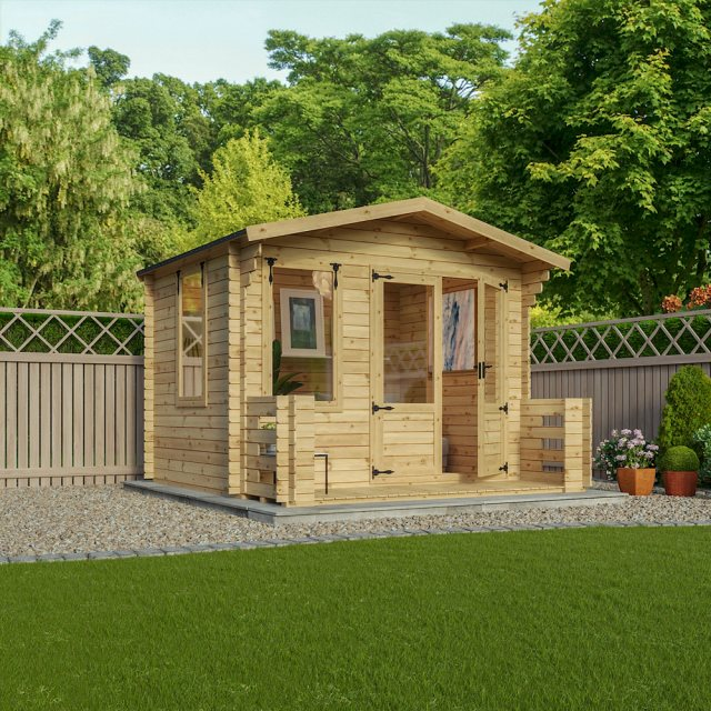 11 x 11 Mercia Studio Log Cabin with Veranda 19mm Logs