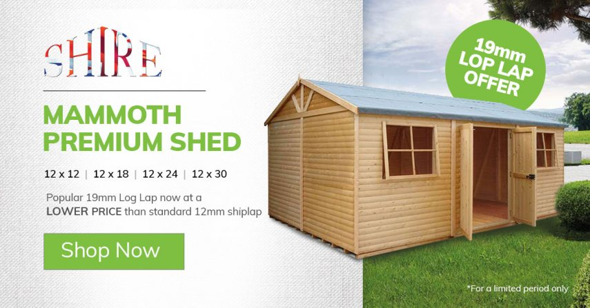 Shire Mammoth Premium Shed - 19mm Log Lap OFFEER ON 12x12,12x18, 12x24,12x30 - Category Page