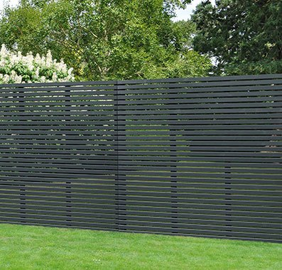 6ft High (1800mm) Forest Single-Sided Slatted Fence Panel - Anthracite Grey