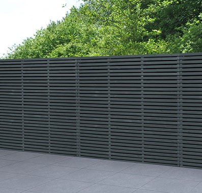 6ft High (1800mm) Forest Double-Sided Slatted Fence Panel - Anthracite Grey - Pressure Treated