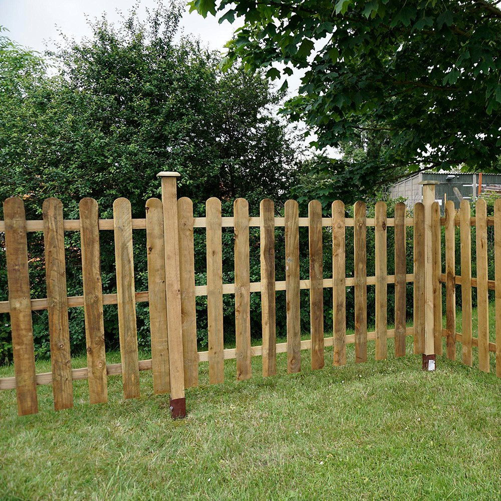 Ft high mm mercia palisade round top fence panels