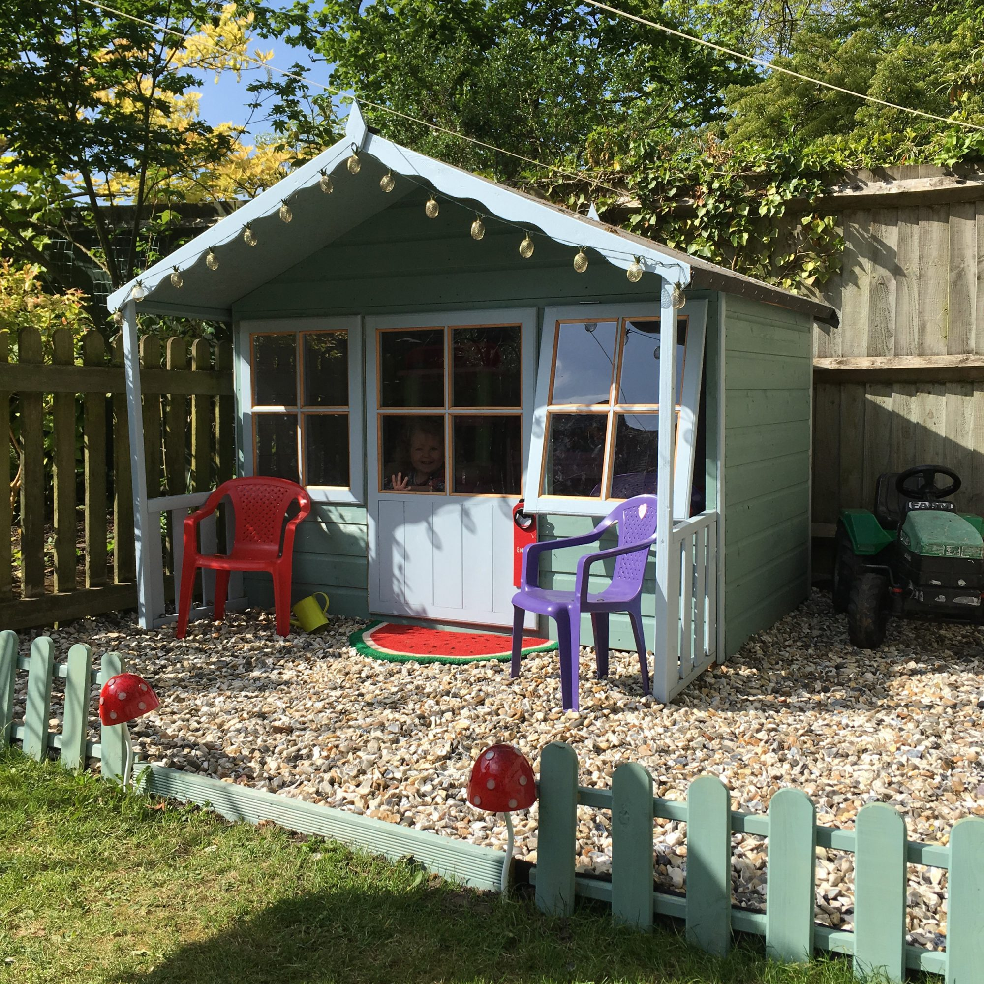 Shire pixie wooden playhouse elbec garden buildings for Wooden playhouse with garage