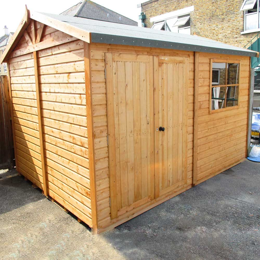 Goodwood mammoth professional apex shed 10 x 10 x 3 for Garden sheds and garages