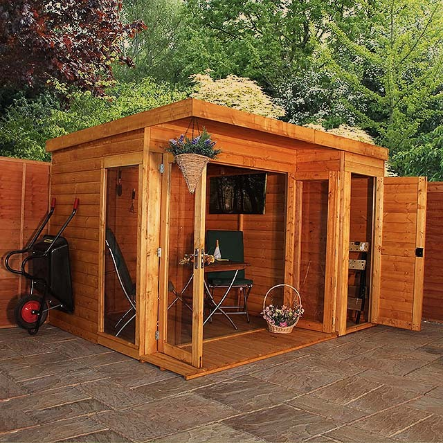 Mercia Garden Room Summerhouse With Side Shed 10 X 8