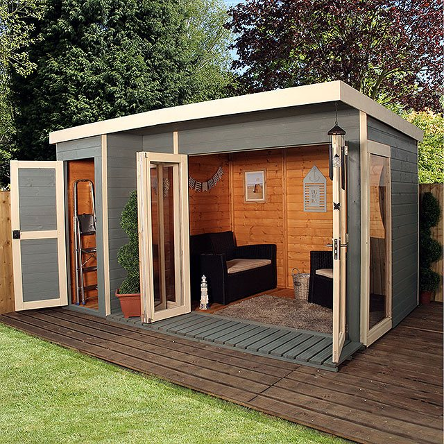 Artist Studio Overlooks Guest Cabin With Rooftop Garden: Mercia Garden Room Summerhouse With Side Shed 12 X 8