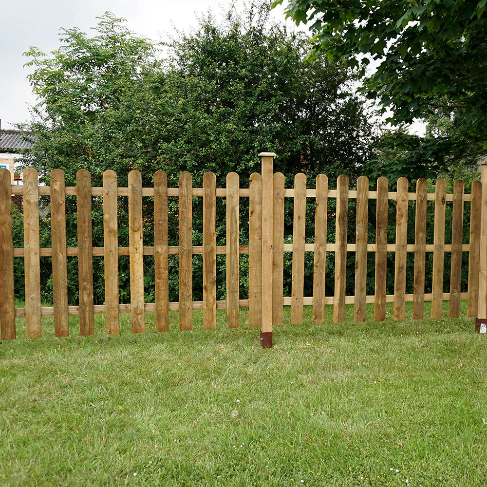 4ft High 1220mm Mercia Palisade Round Top Fence Panels Pressure Treated